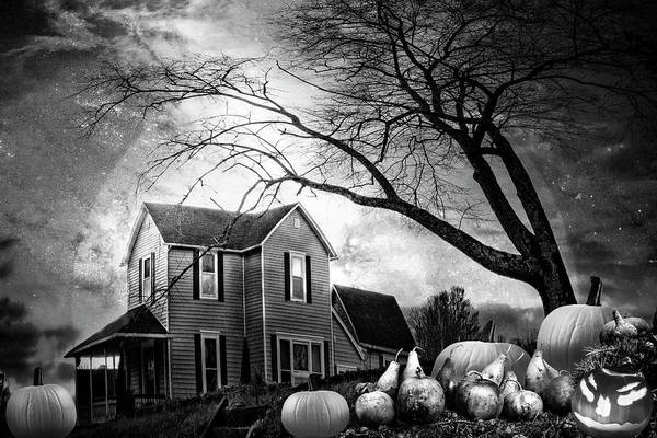 Photograph - Nightfall On Halloween In Black And White by Debra and Dave Vanderlaan