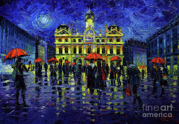 Wall Art - Painting - Nightfall Over Lyon by Mona Edulesco