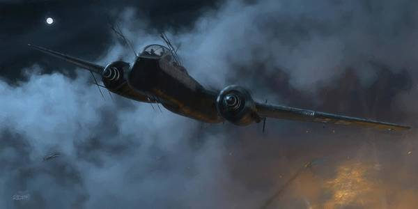 Wwi Wall Art - Digital Art - Nightfighter - Painterly by Robert Perry