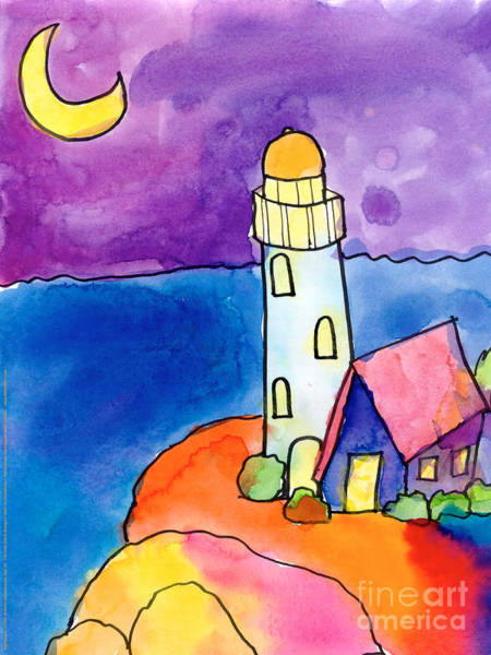 Red Moon Painting - Nighthouse by Michelle Malachowski Age Ten