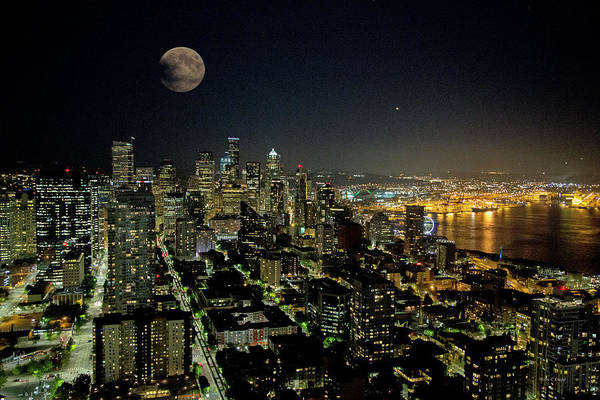 Rising Water Photograph - Nightlights Seattle Washington  by Betsy Knapp
