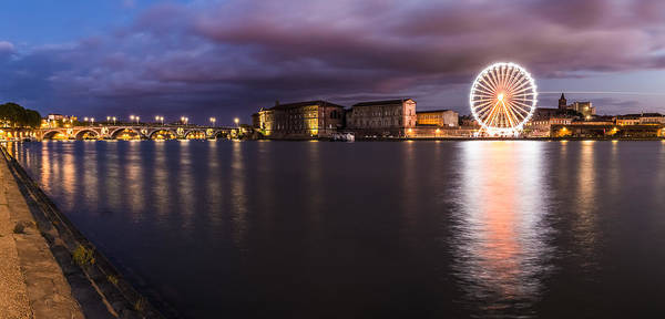 Chapel Bridge Photograph - Nightly Panorama Of The Garonne River And Pont Neuf by Semmick Photo