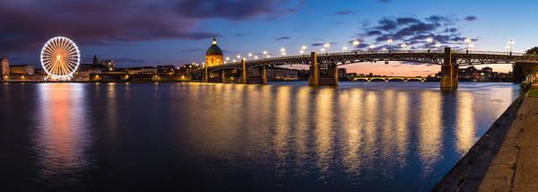 Chapel Bridge Photograph - Nightly Panorama Of The Garonne River Bank by Semmick Photo