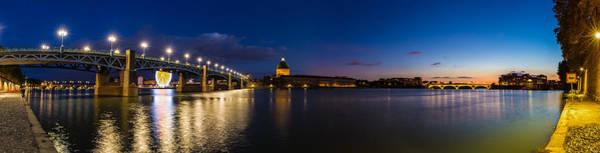 Chapel Bridge Photograph - Nightly Panorama Of The Pont Saint-pierre by Semmick Photo