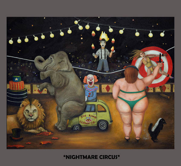 Painting - Nightmare Circus With Lettering by Leah Saulnier The Painting Maniac