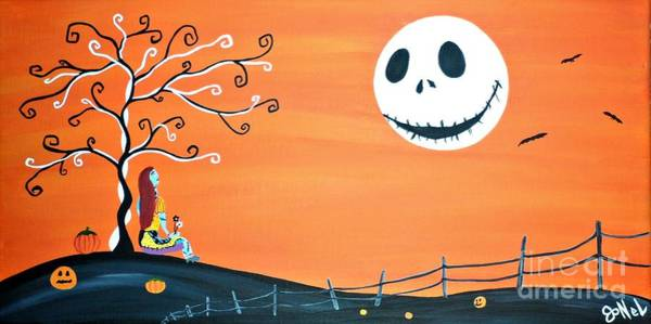 Skellington Painting - Nightmare Love II  by JoNeL Art
