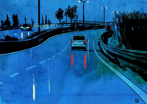 Wall Art - Drawing - Nightscape 03 by Giuseppe Cristiano