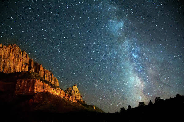 Wall Art - Photograph - Nightscape Milky Way In Zion Canyon by Susan Schmitz