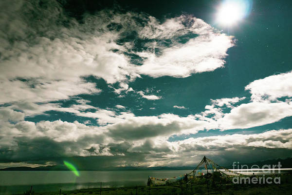 Wall Art - Photograph - Nightscape Moon Lake Manasarovar Kailash Yantra.lv Tibet by Raimond Klavins
