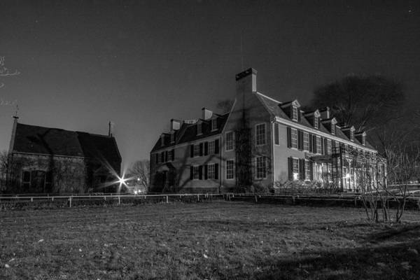 Photograph - Nighttime At The Adams House In Black And White by Brian MacLean