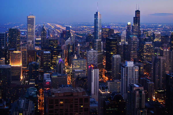Photograph - Nighttime Chicago Skyline by Kyle Hanson