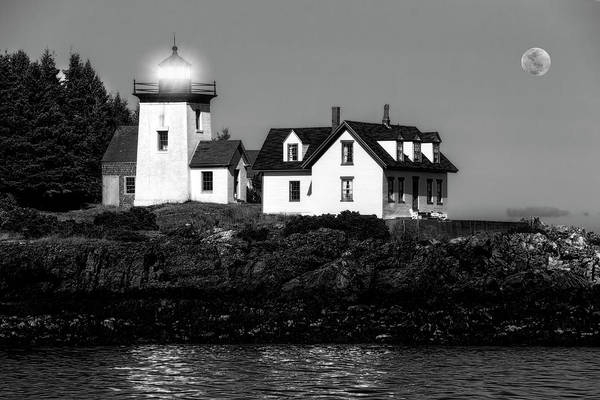 Photograph - Nighttime Lighthouse In Maine In Black And White by Kay Brewer