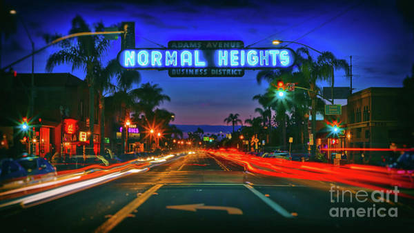 Photograph - Nighttime Neon In Normal Heights, San Diego, California by Sam Antonio Photography