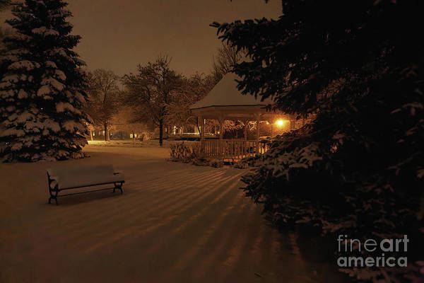 Photograph - Nighttime Snowy Gazebo With Bench And Shadows by Kari Yearous
