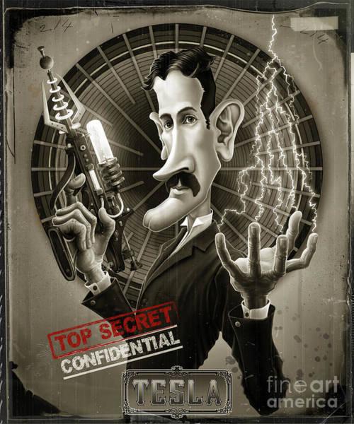 Electricity Digital Art - Nikola Tesla by Andre Koekemoer