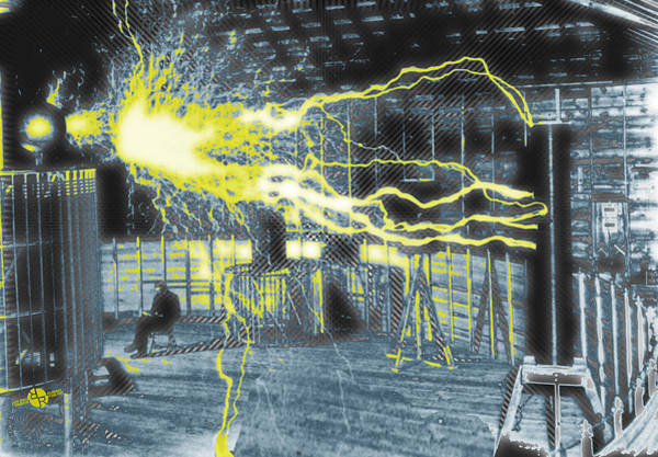 Wall Art - Photograph - Nikola Tesla Sitting In His Experimental Station Reimagined 2 by Tony Rubino