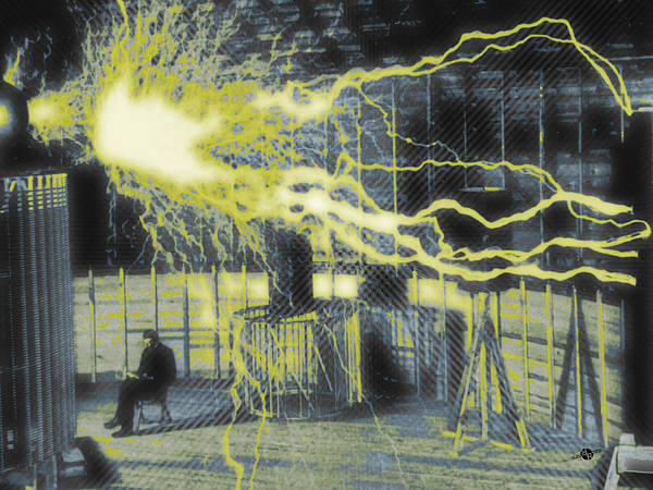Painting - Nikola Tesla Sitting In His Experimental Station Reimagined 3 by Tony Rubino
