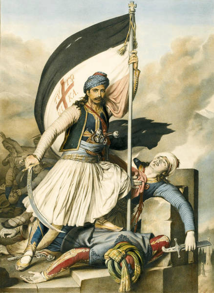 Drawing - Nikolakis Mitropoulos Raises The Flag With The Cross At Salona On Easter Day 1821 by Louis Dupre
