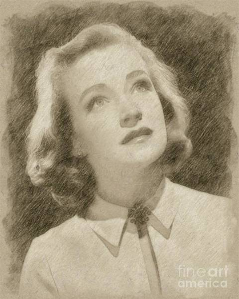 Rock Music Drawing - Nina Foch Hollywood Actress by Frank Falcon