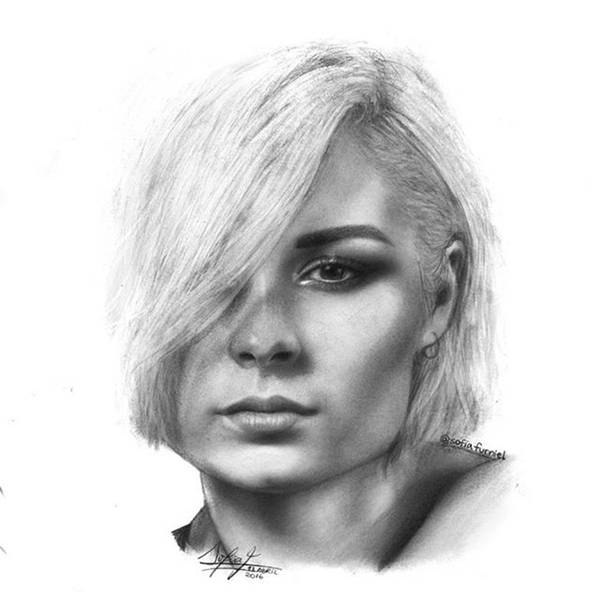 Black Drawing - Nina Nesbitt Drawing By Sofia Furniel by Jul V