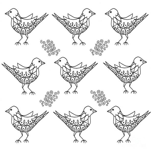 Drawing - Nine Birds Of A Feather by Helena Tiainen