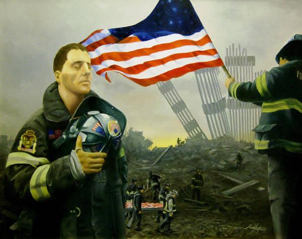 Nine Flags Eleven Fireman One Body Art Print by Jim Horton