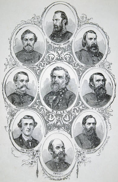 Confederate Generals Painting - Nine Portraits Of Prominent Generals Of Confederate Army by American School