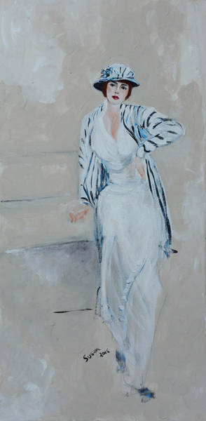 Blue Dress Painting - Nineteen Twenties Lady In Striped Jacket by Susan Adams