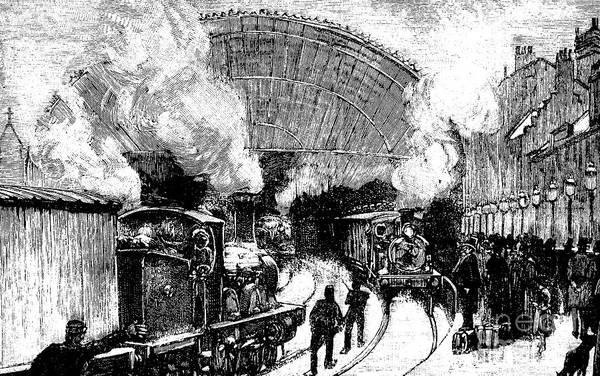 Railroad Station Drawing - Nineteenth Century Railway Station by English School