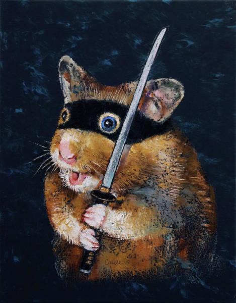 Samurai Painting - Ninja Hamster by Michael Creese