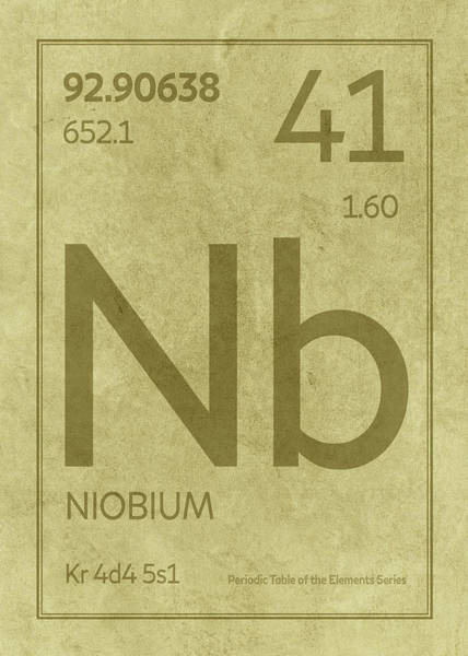 Elements Mixed Media - Niobium Element Symbol Periodic Table Series 041 by Design Turnpike