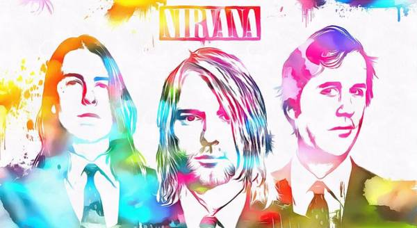 Dave Grohl Painting - Nirvana Watercolor Paint Splatter by Dan Sproul