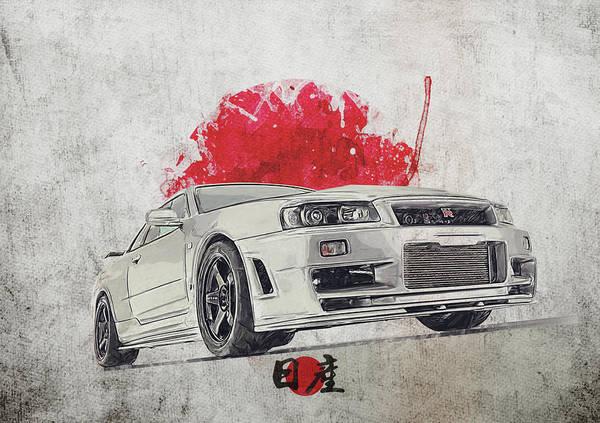 Wall Art - Digital Art - Nissan Gt-r R34 - Skyline by Yurdaer Bes