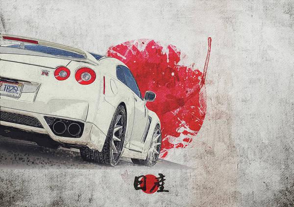 Wall Art - Digital Art - Nissan Gt-r R35 - Skyline - Cba-r35 - Race Car by Yurdaer Bes