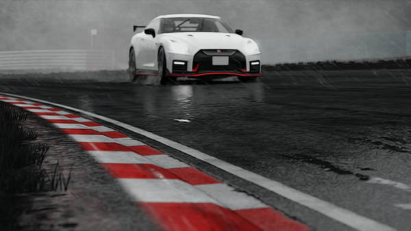 Painting - Nissan Gtr In The Rain - 3 by Andrea Mazzocchetti