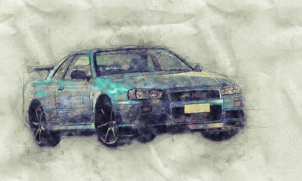 Garage Decor Mixed Media - Nissan Skyline Gt-r 1 - Spors Car - Automotive Art - Car Posters by Studio Grafiikka
