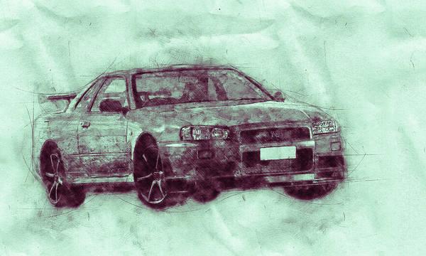 Wall Art - Mixed Media - Nissan Skyline Gt-r 3 - Spors Car - Automotive Art - Car Posters by Studio Grafiikka