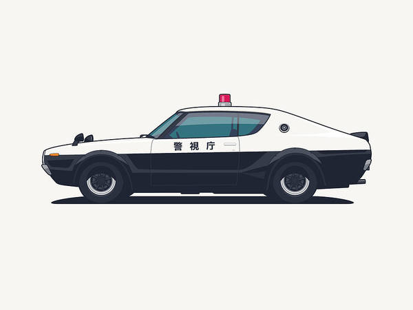 Wall Art - Digital Art - Nissan Skyline Gt-r C110 Japan Police Car by Ivan Krpan