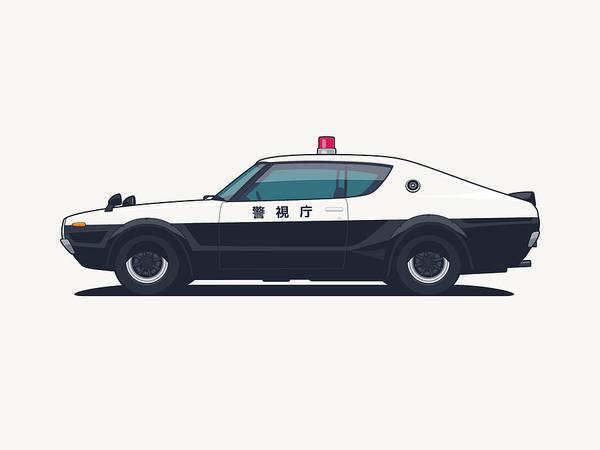 Vehicle Digital Art - Nissan Skyline Gt-r C110 Japan Police Car by Ivan Krpan