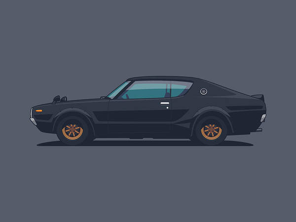 Vehicle Digital Art - Nissan Skyline Gt-r C110 Side - Plain Black by Ivan Krpan