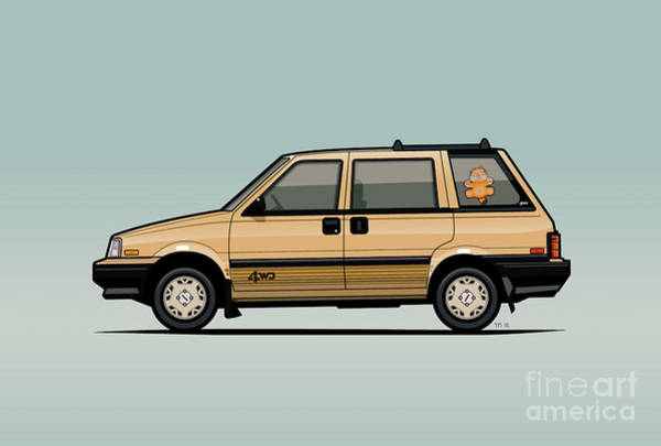 Wall Art - Digital Art - Nissan Stanza / Prairie 4wd Wagon Gold by Monkey Crisis On Mars