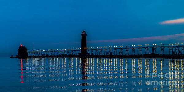 Photograph - Nite Reflection At Grand Haven by Nick Zelinsky
