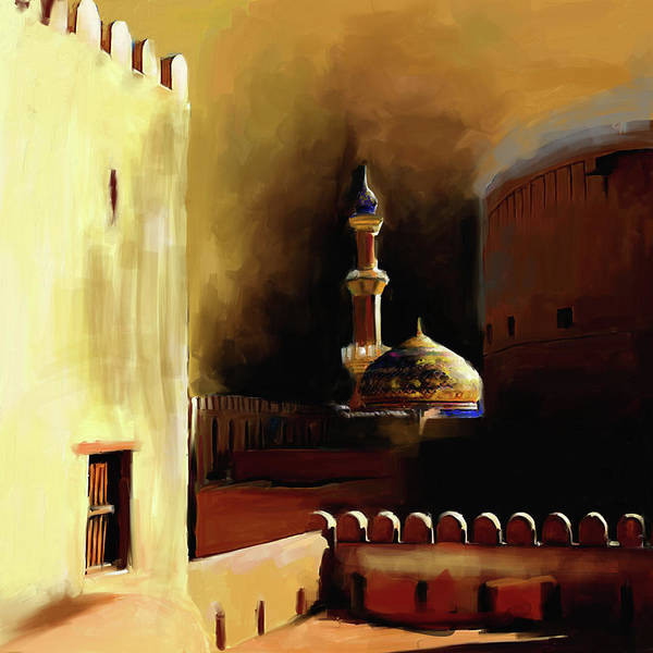 Wall Art - Painting - Nizwa Fort's Mosque 678 1 by Mawra Tahreem