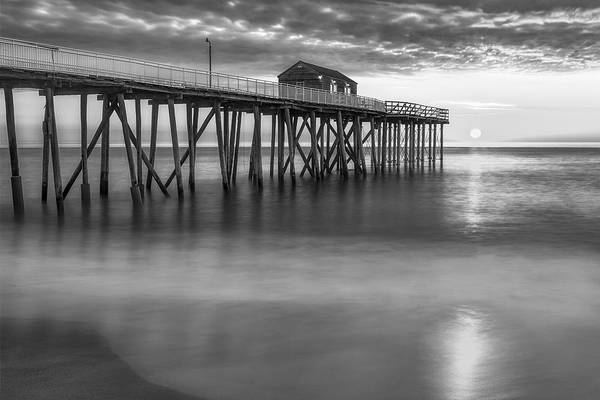 Wall Art - Photograph - Nj Shore Pier Sunrise Bw by Susan Candelario