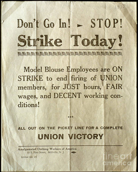Photograph - Nj: Strike Poster, 1935 by Granger