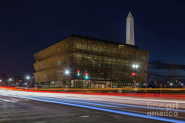 African American Museum Photograph - Nmaahc And Traffic Light Trails I by Clarence Holmes