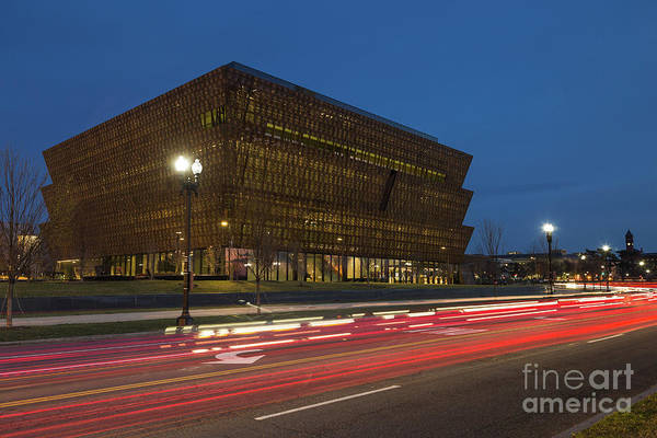 African American Museum Photograph - Nmaahc And Traffic Light Trails II by Clarence Holmes
