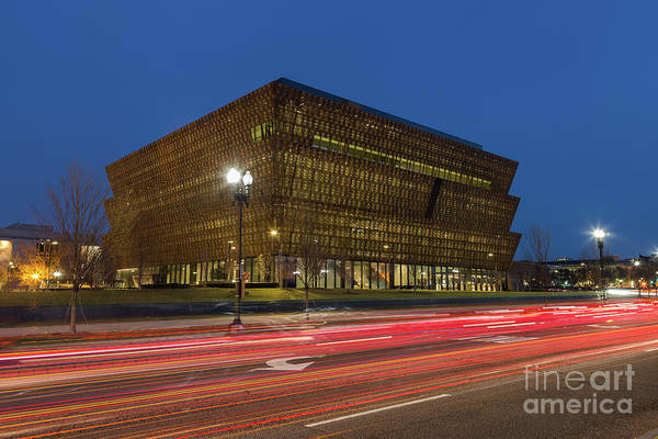 African American Museum Photograph - Nmaahc And Traffic Light Trails IIi by Clarence Holmes
