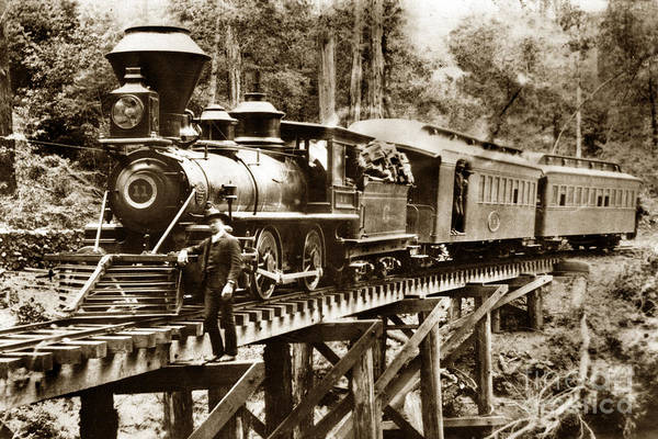 Photograph - No. 11 Marin 4-4-0  North Pacific Coast Railroad Circa 1885 by California Views Archives Mr Pat Hathaway Archives