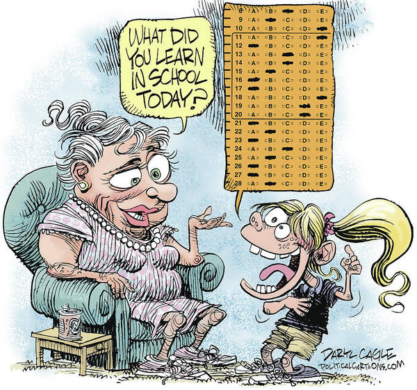 Drawing - No Child Left Behind Testing by Daryl Cagle